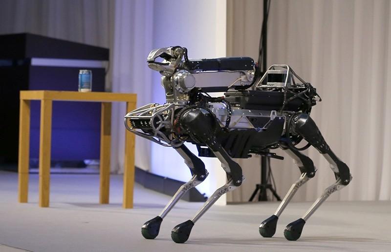 The four-legged SpotMini robot, presented by Boston Dynamics. (AP Photo)