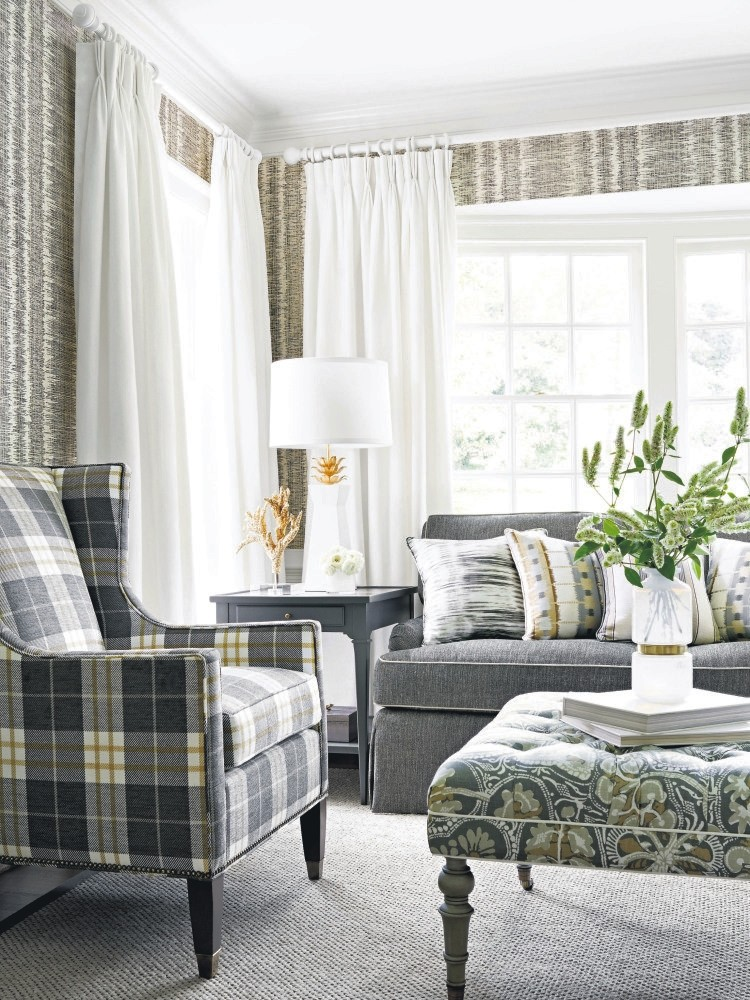 Plaid fabrics made in Scotland to protect from the freezing cold add a sense of coziness to homes.