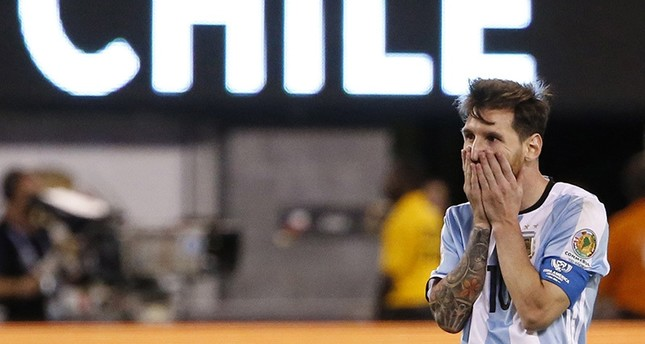 Argentina midfielder Lionel Messi reacts during extra time against Chile during their COPA America Centenario USA 2016 Cup final match (EPA)