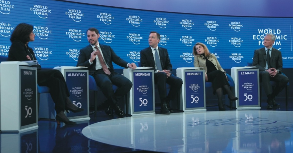 Treasury and Finance Minister Berat Albayrak (second from left) speaks during the session titled u201cShaping the Global Growth Agendau201d at the 50th World Economic Forum, Davos, Switzerland, Jan. 23, 2020. (AA Photo)