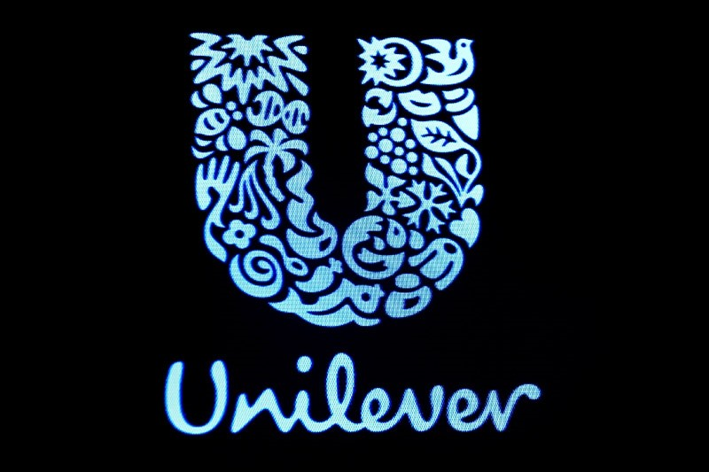 The company logo for Unilever is displayed on a screen on the floor of the New York Stock Exchange (NYSE) in New York, U.S., February 17, 2017. (Reuters Photo)