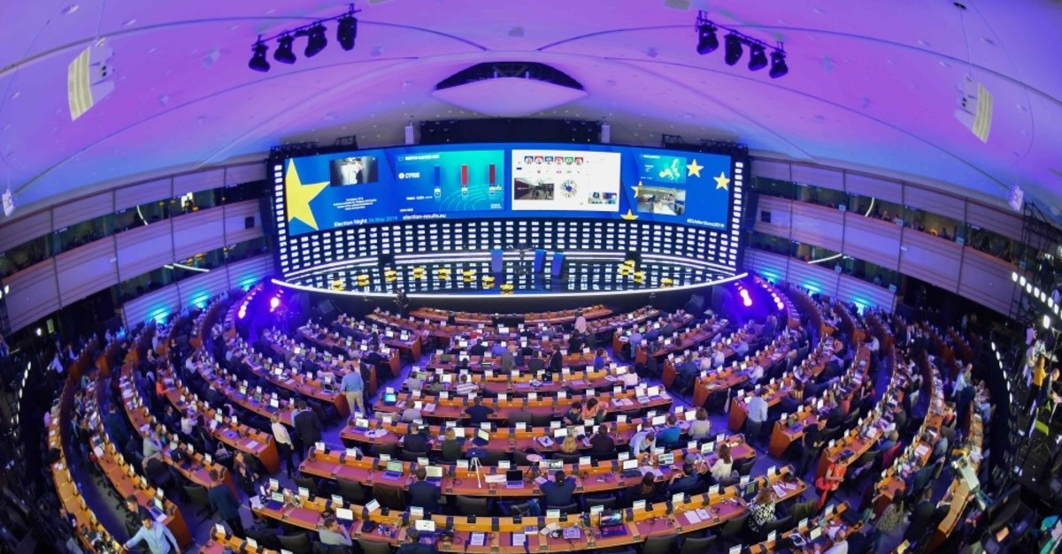 An inside view of the European Parliament Hemicycle where journalists are following the European elections results, Brussels, May 26, 2019.