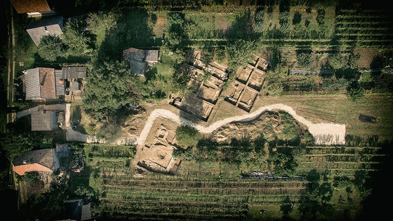 This aerial photo dated April 9, 2018 shows the archaelogical excavation site near Szigetvar, Hungary. (File Photo)