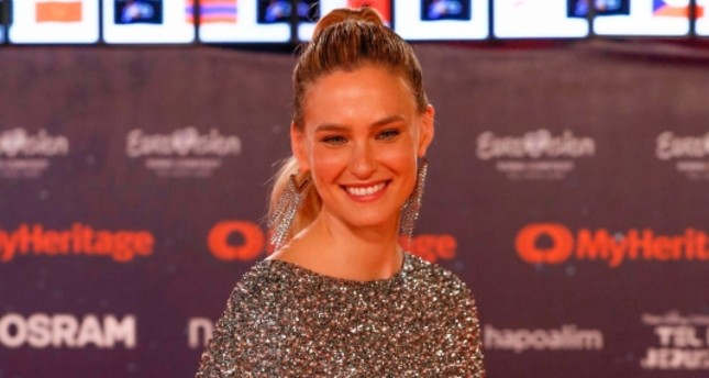 Israeli supermodel Bar Refaeli poses for a picture during the Red Carpet ceremony of the 64th edition of the Eurovision Song Contest 2019 at Expo Tel Aviv on May 12, 2019 in the Israeli coastal city. (AFP Photo)