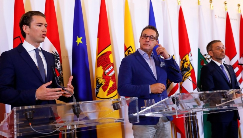 Austrian Chancellor Sebastian Kurz, Vice Chancellor Heinz-Christian Strache and Interior Minister Herbert Kickl attend a news conference in Vienna, Austria June 8, 2018. (Reuters Photo)