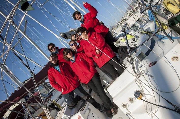 The groupu2019s female sailors on board. Coming from different professions, the group members share the same passion for sea.
