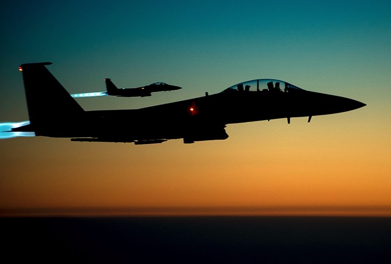 This file photo taken by the US Air Forces Central Command shows a pair of US Air Force F-15E Strike Eagles flying over northern Iraq early in the morning of Sept. 23, 2014 after conducting airstrikes in Syria. (AFP Photo)