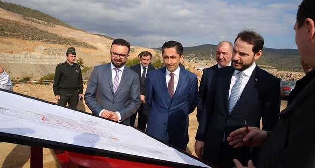 This file photo dated Feb. 06, 2017, shows Energy Minister Berat Albayrak inspecting the Akkuyu Nuclear Plant construction site in Gülnar district of Turkey's southern Mersin province. (Sabah Photo)