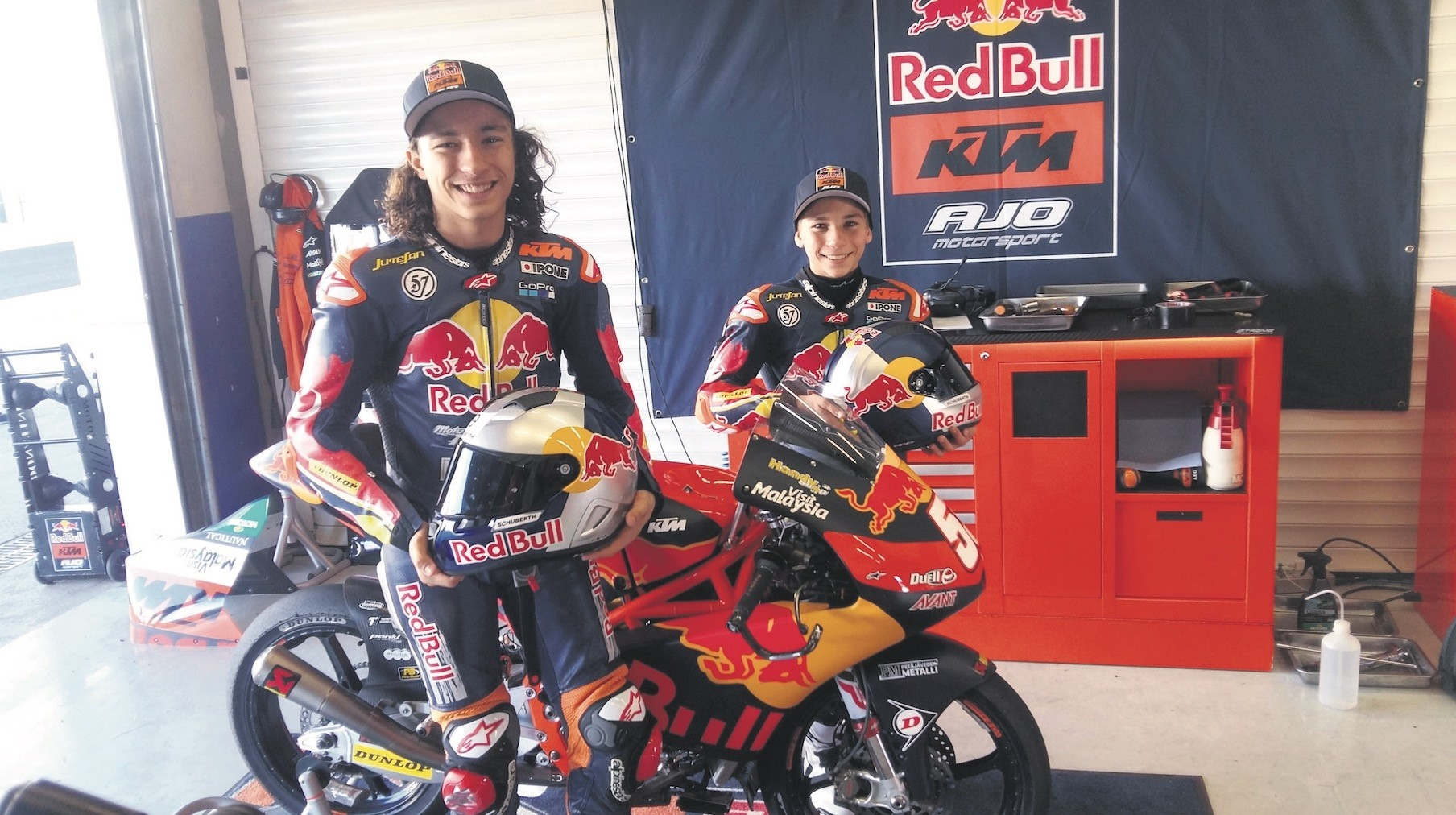 Deniz and Can u00d6ncu00fc pose in front of their motorcycle. The 14-year-old twins have been riding motorcycles since they were 8.