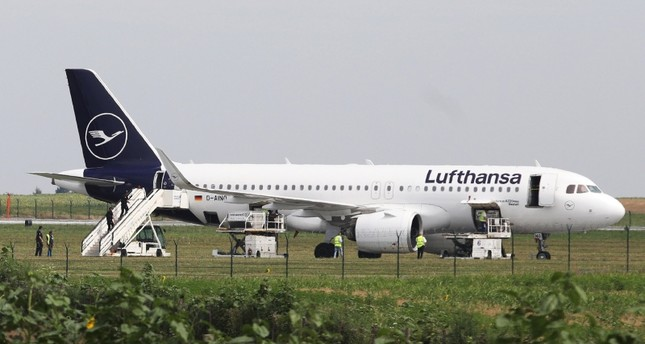 Authorities at Nikola Tesla Airport respond to a possible bomb threat to a Lufthansa Airbus A320neo plane in Belgrade, Serbia July 18, 2019 (Reuters Photo)