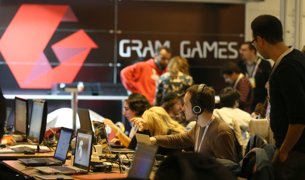 Game developers working games they have 48 hours to create at the Global Game Jam, Ankara on Jan. 25, 2019.