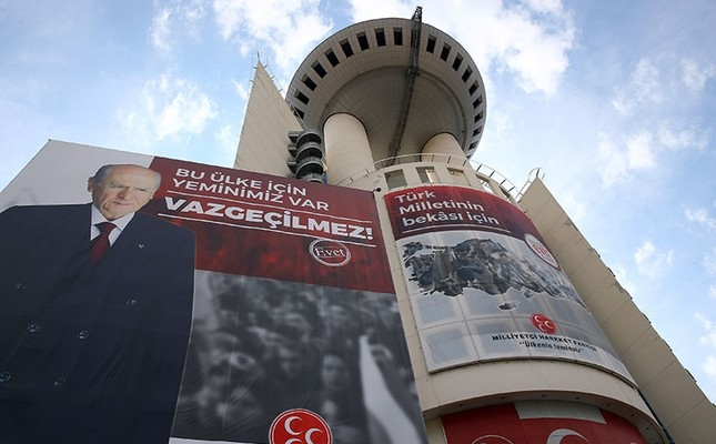 A giant Yes banner showing MHP leader Devlet Bahçeli being displayed on MHP headquarters. (AA Photo)