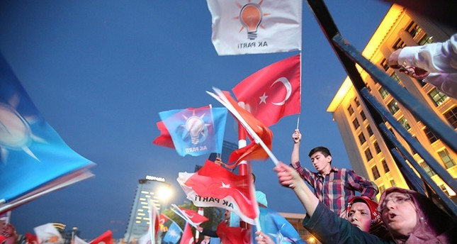 Supporters waving flags in front of AK Party headquarters in Ankara (Sabah File Photo)