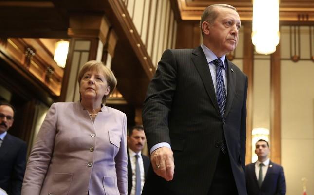German Chancellor Angela Merkel and President Recep Tayyip Erdoğan, Ankara, Feb. 2.