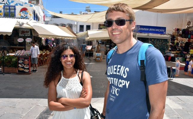 Tim Mühler (R), from Germany, said it was his first time visiting Muğla's Bodrum district.
