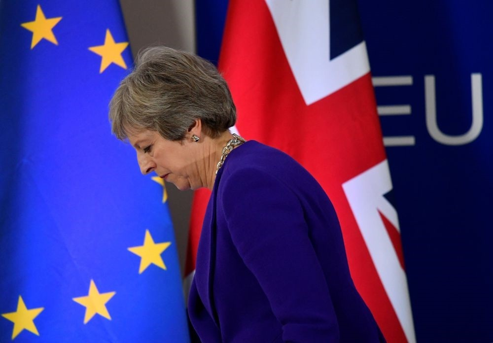Britainu2019s Prime Minister Theresa May at a news conference at the European Union leaders summit in Brussels, Belgium, Oct. 18.