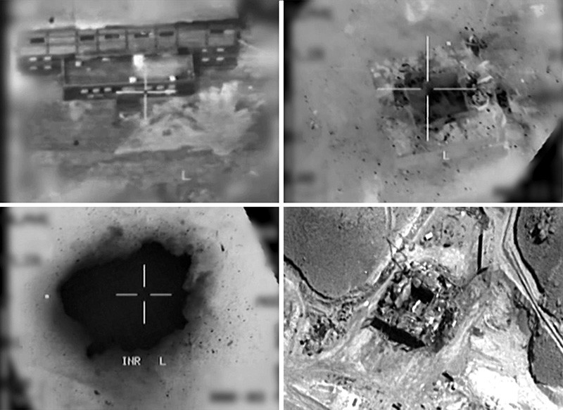 This combination of pictures created on March 20, 2018 of handout images provided by the Israeli army reportedly shows an aerial view of a suspected Syrian nuclear reactor during bombardment in 2007. (AFP Photo)