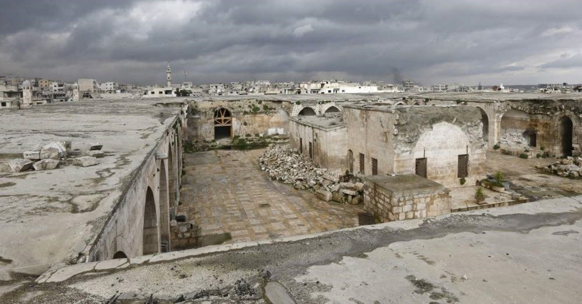 A view of the museum of Maaret al-Numan in Syria's northwestern Idlib province on Jan. 30, 2020. Maaret al-Numan is nestled in a UNESCO-listed region of ancient villages and its mosaics museum had achieved international renown.The museum, housed in an Ottoman-era caravanserai, was seriously damaged in a government barrel bomb attack in 2015. (AFP Photo)