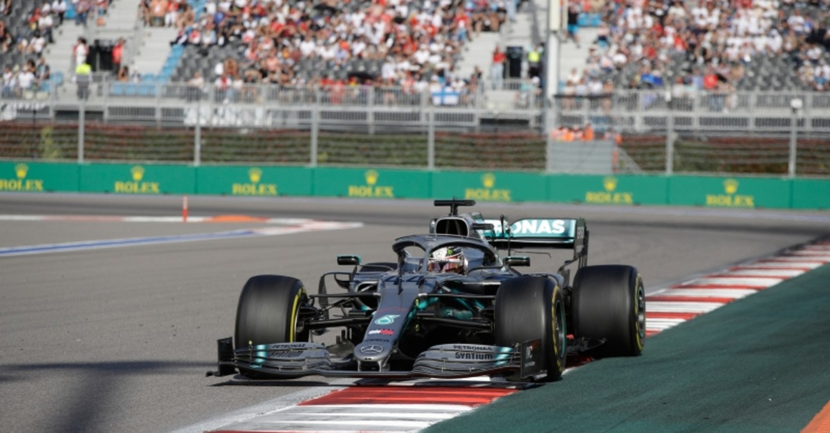 Mercedes driver Lewis Hamilton of Britain steers his racer during the Russian Formula one Grand Prix, at the 'Sochi Autodrom' Formula One circuit, in Sochi, Russia, Sunday, Sept. 29, 2019. (AP Photo)