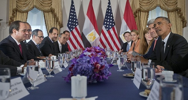In this Thursday, Sept. 25, 2014 file photo, President Barack Obama meets with Egyptian President Abdel Fattah el-Sisi, left, in New York (AP Photo)
