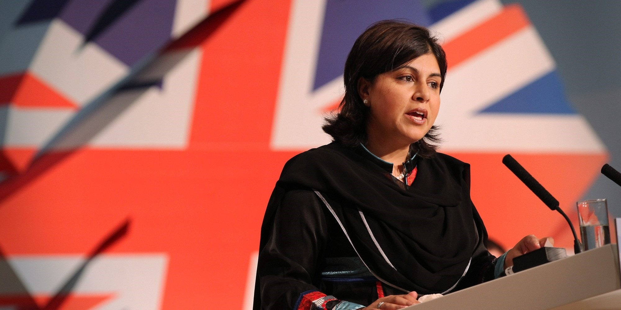 Conservative Co-Chairman Sayeeda Warsi speaks to delegates at the Conservative Party Conference at the International Convention Centre on October 3, 2010 in Birmingham, England.