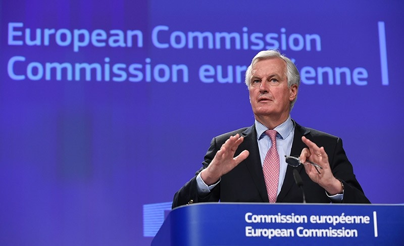 EU Brexit negotiator Michel Barnier gives a joint press conference on the negotiations with the United Kingdom Council under Article 50, at the European Union headquarters in Brussels, on May 3, 2017. (AFP Photo)