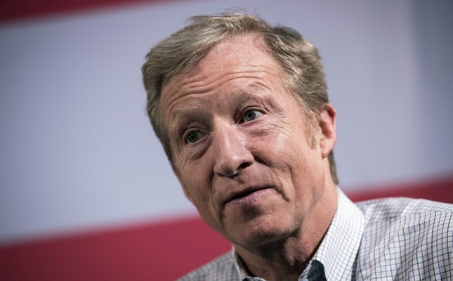 In this file photo taken on January 28, 2018, Hedge fund billionaire and Democratic fundraiser Tom Steyer speaks during a town hall in New York City. (AFP Photo)