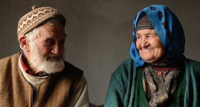 Old couple from Turkey's Black Sea region smile lovingly at each other. (FILE Photo)