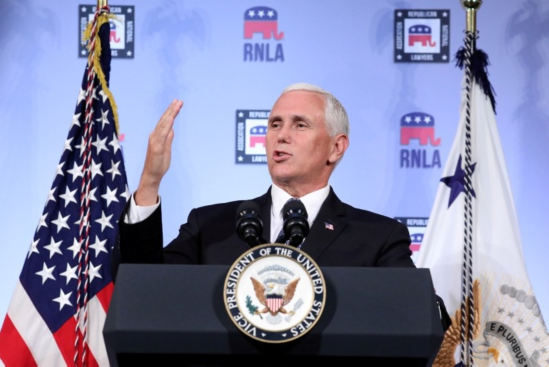 U.S. Vice President Mike Pence delivers a speech at the Republican National Lawyers Association (RNLA) in Washington, U.S., August 24, 2018. (Reuters Photo)