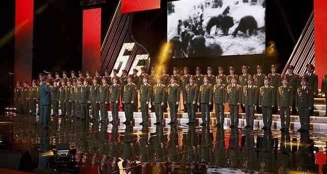 أوركسترا الجيش الأحمر أثناء أحد عروضها في موسكو رويترز