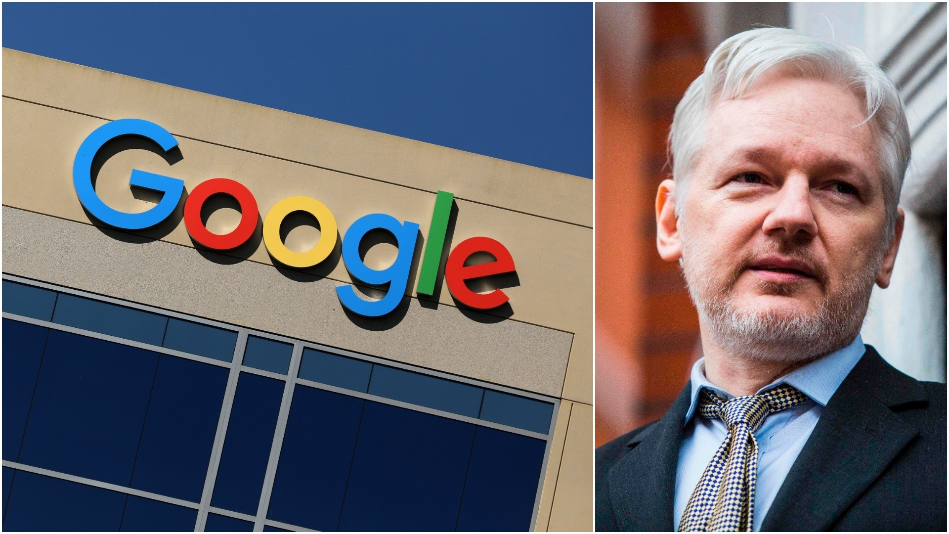 L-The Google logo is pictured atop an office building in California August 7, 2017. (REUTERS) R-Julian Assange. (AFP)