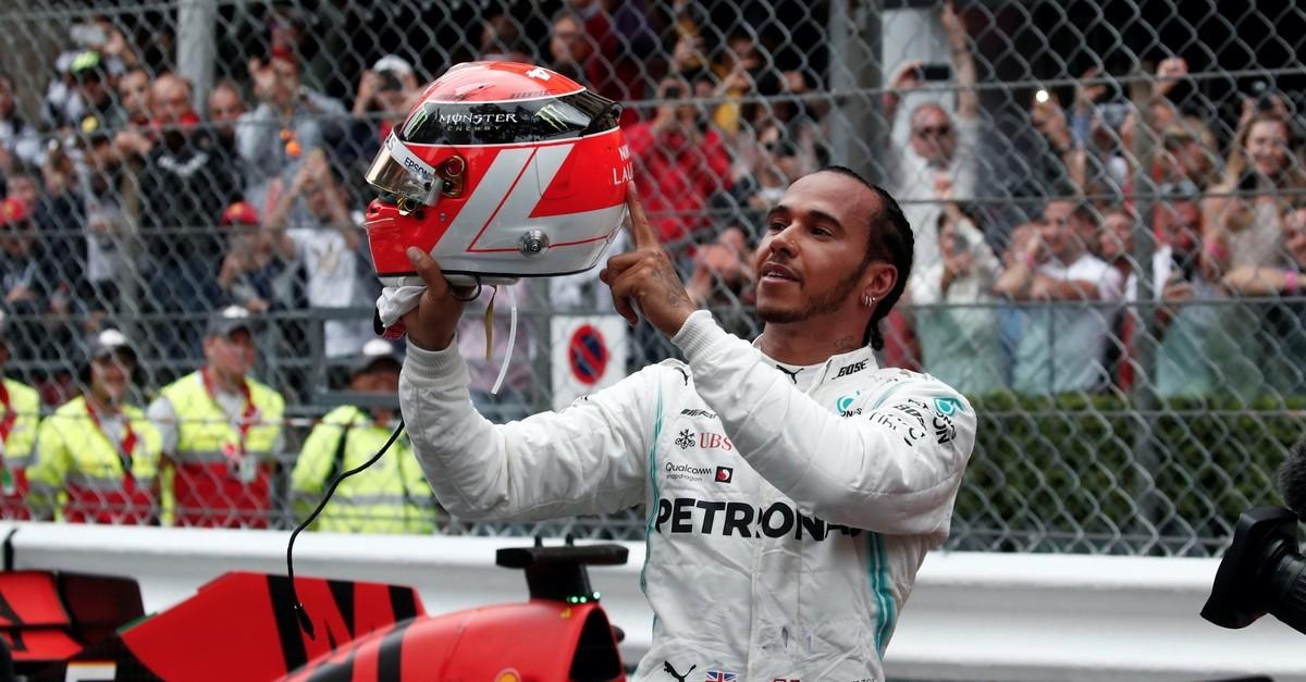 Lewis Hamilton celebrates his victory in Monaco, May 26, 2019.