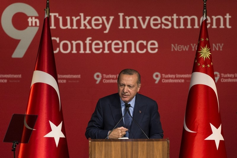 President Erdou011fan speaks at the 9th Turkey Investment Conference held by the Turkey-U.S. Business Council (TAIK) in New York on Sept. 26, 2018. (AA Photo)
