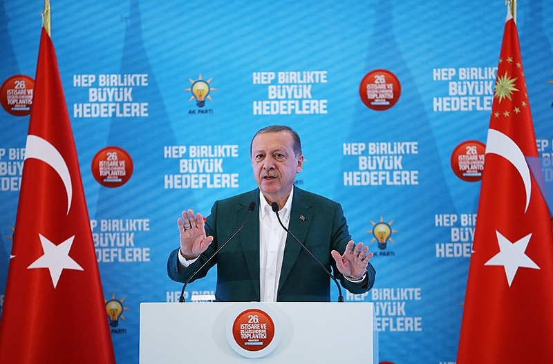 President Recep Tayyip Erdou011fan speaks at the 26nd Consultation and Assessment meeting of the Justice and Development Party (AK Party). (AA Photo)
