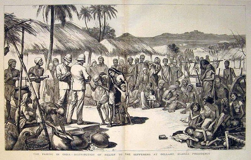 Distribution of famine relief in the Madras Presidency. From the Illustrated London News (May 26,1877)