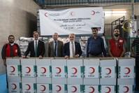 قافلة المساعدات التركية التي ستعبر بالتنسيق مع الهلال الأحمر المصري لغزة الأناضول