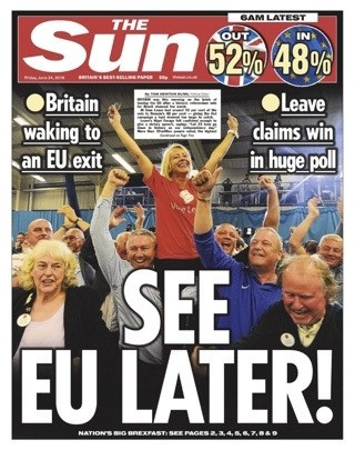 The Sun announced the Brexit victory on their front page on Friday.