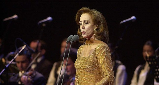 Lebanese diva Fairuz performs in Beirut, Feb. 5, 2018. (AP)