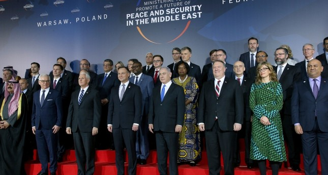 Participants pose for a group photo during the Middle East Conference at the Royal Castle in Warsaw, Poland, Wednesday, Feb. 13, 2019. (AP Photo)