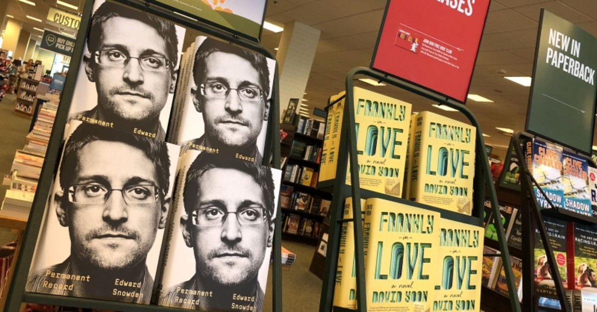 Newly released ,Permanent Record, by Edward Snowden is displayed on a shelf at a Barnes and Noble bookstore on September 17, 2019 in Corte Madera, California. (AFP Photo)