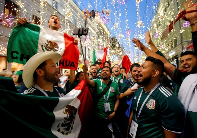 Mexico's fans celebrate victory of their team after the match. (REUTERS Photo)
