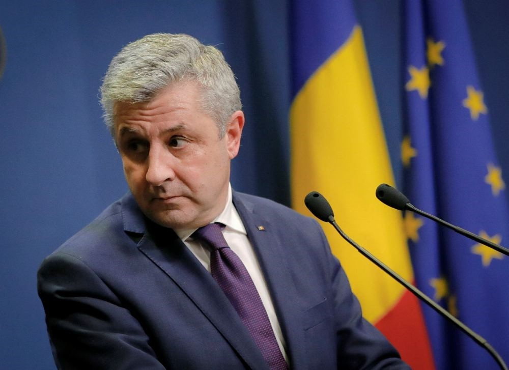Romanian Justice Minister Florin Iordache announces his resignation during a media briefing in Bucharest, Romania, Feb. 9.