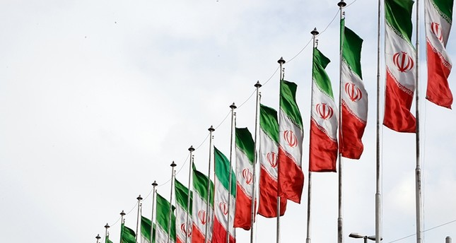 Iranian national flags on a highway in the capital Tehran, Iran, Jan. 2, 2018. (EPA Photo)
