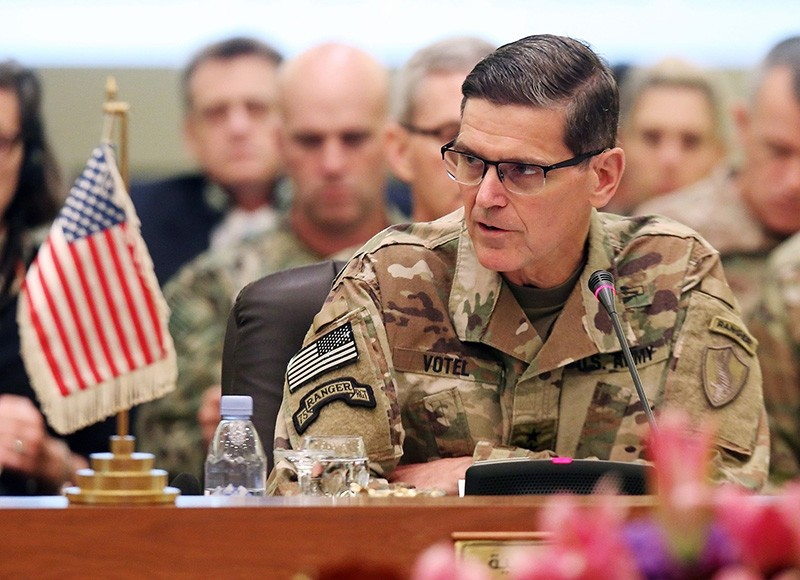In this file photo taken on September 12, 2018, Commander of United States Central Command Joseph Leonard Votel speaks during a meeting with the Gulf cooperation council's armed forces chiefs of staff in Kuwait City. (AFP Photo)