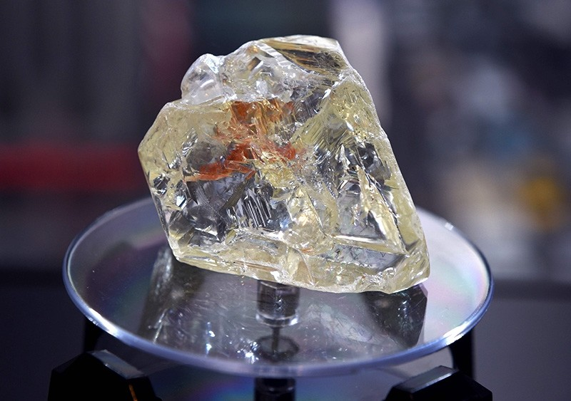 In this file photo taken on December 4, 2017, the Peace Diamond is on display at the Rapaport Group in New York. (AFP Photo)