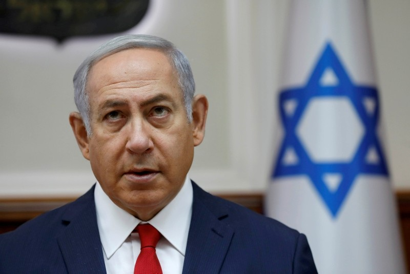 Israeli Prime Minister Benjamin Netanyahu attends the weekly cabinet meeting at his office in Jerusalem, July 8, 2018. (Reuters Photo)