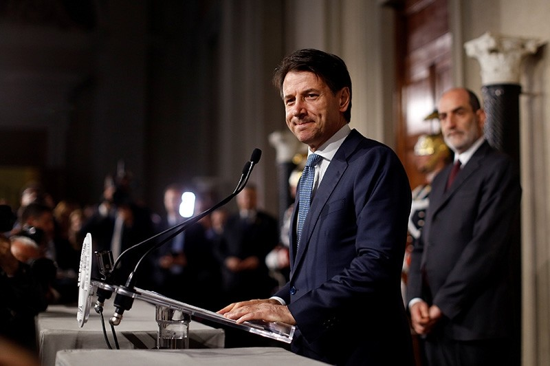 Newly appointed Italy Prime Minister Giuseppe Conte speaks to the media after the consultation with the Italian President Sergio Mattarella at the Quirinal Palace in Rome, Italy, May 23, 2018. (Reuters Photo)