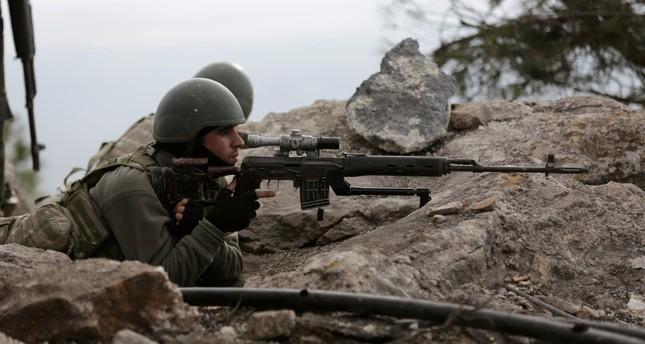 Turkish forces at Mount Barsaya, northeast of Afrin, Syria, Jan. 28.
