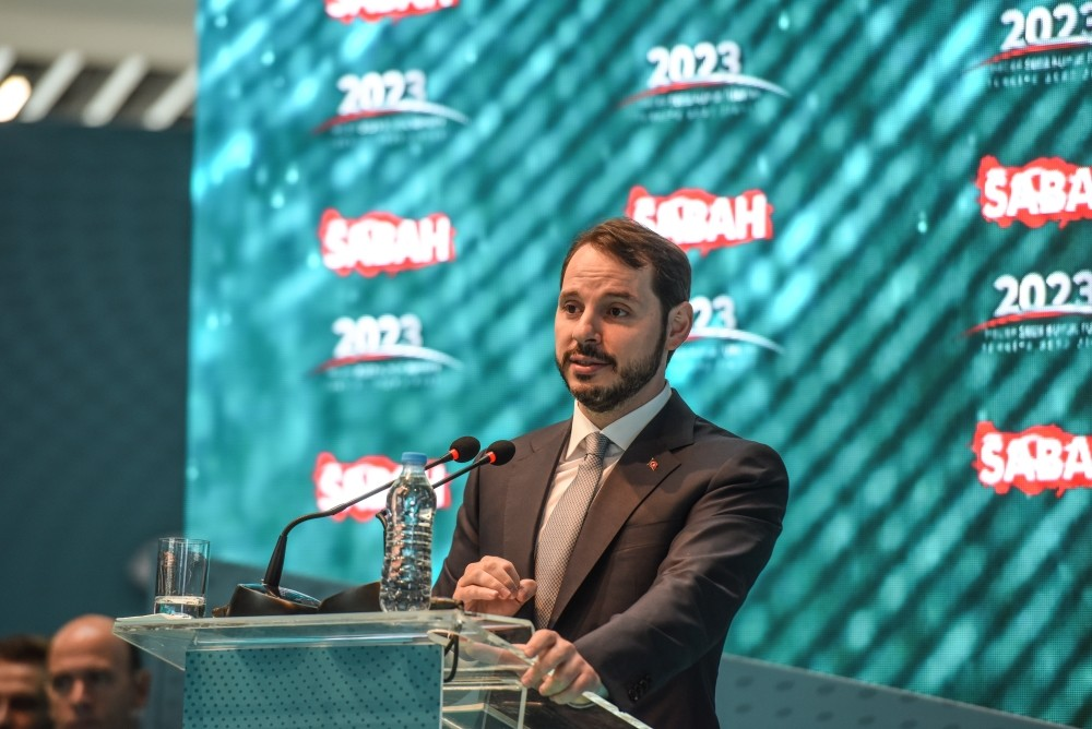 Treasury and Finance Minsiter Berat Albayrak delivers a speech at the opening ceremony of ,Vision 2023 Great Turkey Summit, in Istanbul yesterday.