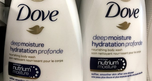 Two bottles of Dove's Deep Moisture body wash are displayed in Toronto, Ontario, Canada, October 8, 2017 (Reuters Photo)